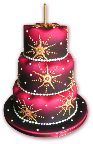 pink and purple birthday cake with gold stars